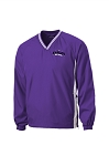 CHCA Softball-Sport-Tek® Tipped V-Neck Raglan Wind Shirt in Purple & White