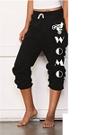 WOMO-Bella + Canvas - Unisex Long Scrunch Fleece Pant in Black