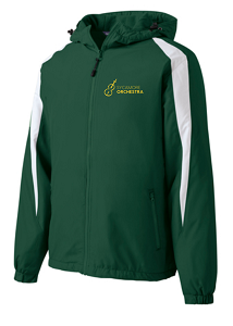 Fleece-Lined Colorblock Jacket by Sport-Tek® in Forest/White- SHS Orchestra