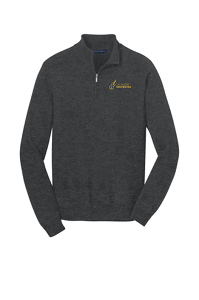Unisex 1/4 Zip Sweater in Charcoal Heather by Port & Company-SHS Orchestra