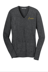 Ladies V-Neck Sweater in Charcoal Heather by Port & Company-SHS Orchestra